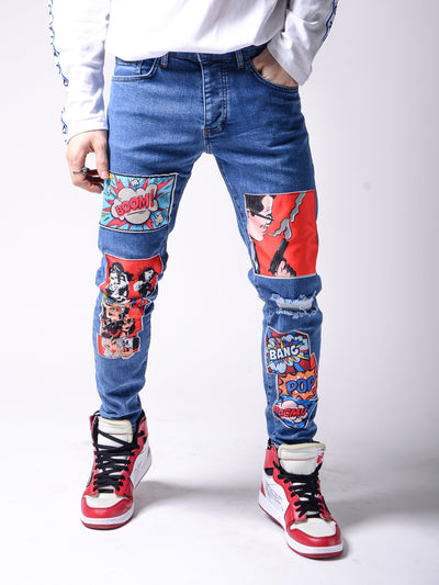 Comic Books Blue Jeans - MensFashionsWorld