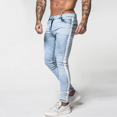 Ice Blue Slim Fit Stretchable Jeans With White Strips