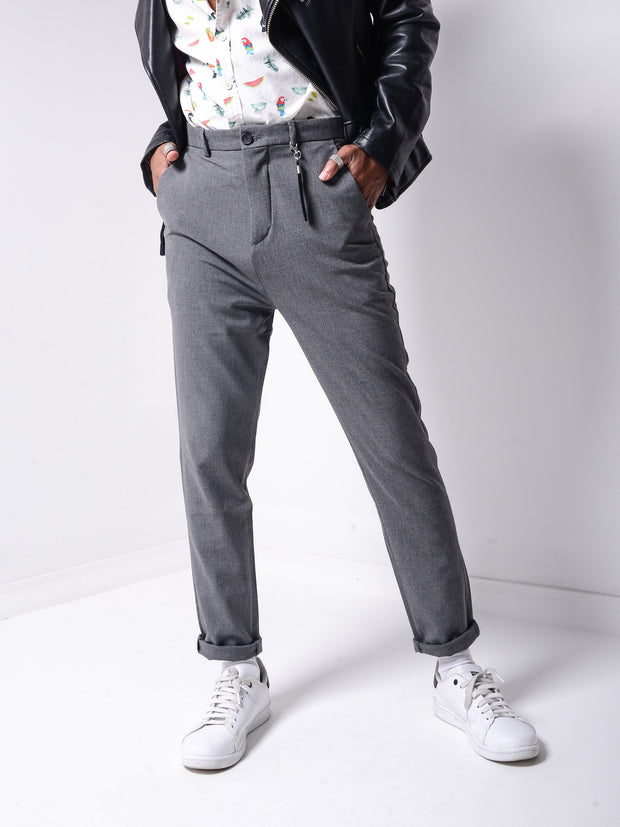 Roll Up Ankle Pants - Dark Grey - MensFashionsWorld