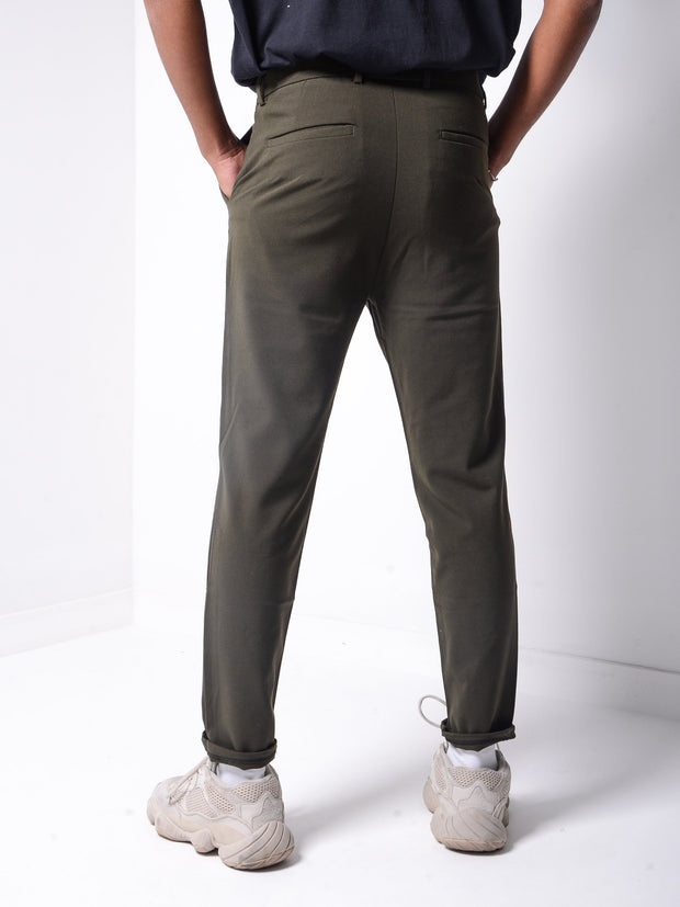 Roll Up Ankle Pants - Khaki - MensFashionsWorld