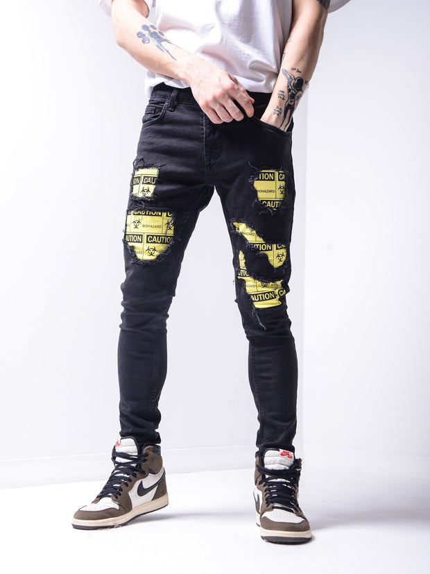 Biohazard Patch Jeans - Black - MensFashionsWorld
