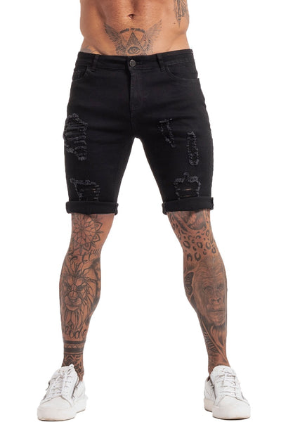 Black Denim Ripped Jeans Shorts For Summer - MensFashionsWorld