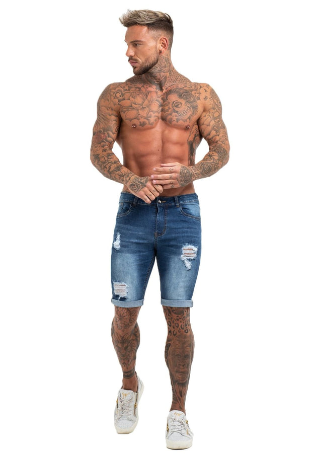 Dark Blue Denim Ripped Jeans Shorts For Summer - MensFashionsWorld
