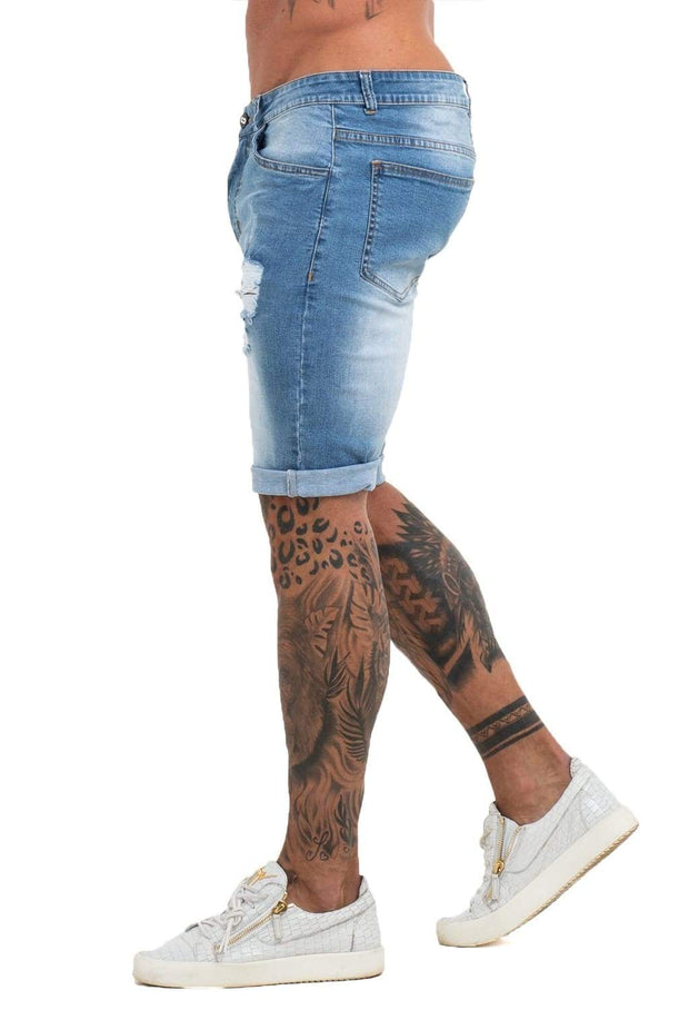 Light Blue Denim Ripped Jeans Shorts For Summer - MensFashionsWorld