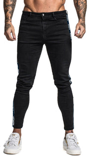 Mens Black Jeans With Stripe - MensFashionsWorld