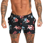 Mens Swim Trunks Beachwear- Flower Black - MensFashionsWorld