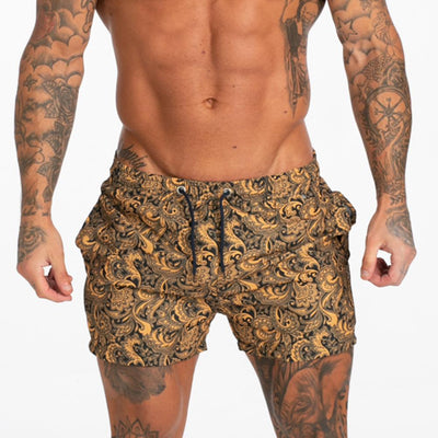 Mens Swim Trunks Beachwear - Print Yellow - MensFashionsWorld