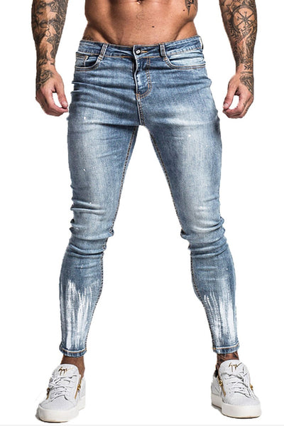 Super Skinny Non-Ripped Paint Brushed Jeans - Faded Blue - MensFashionsWorld