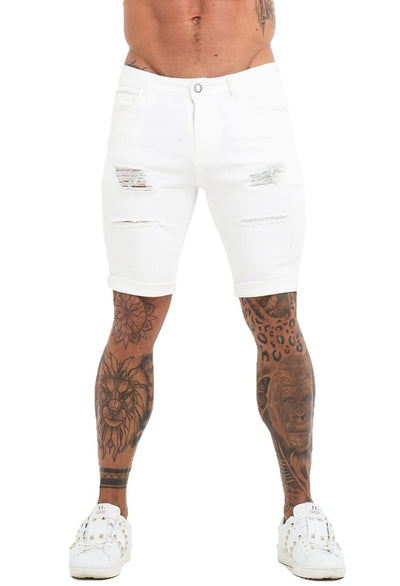 White Denim Ripped Jeans Shorts For Summer - MensFashionsWorld
