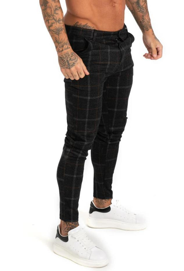 Black Plaid Stretch Chinos - MensFashionsWorld