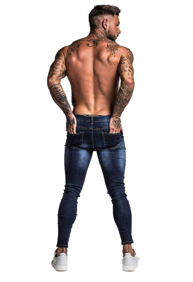Blue Ripped Stretch Jeans - MensFashionsWorld