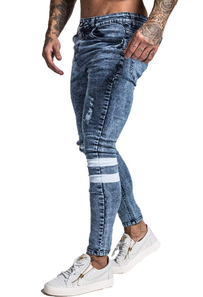 Blue Skinny Ripped Jeans - MensFashionsWorld