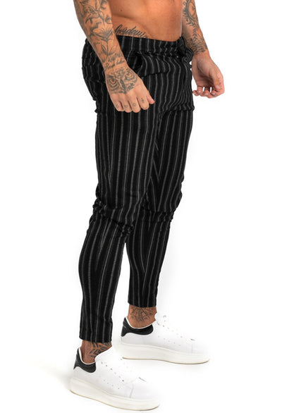 Men's Black Stripe Chinos - MensFashionsWorld