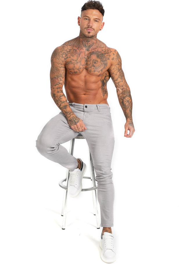 Men's Grey Stretch Jeans - MensFashionsWorld