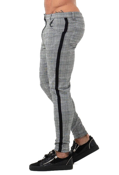 Mens Chinos Grey Plaid - MensFashionsWorld