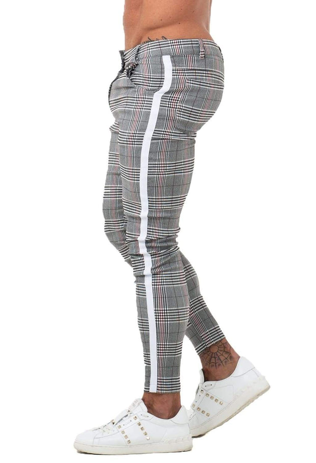 Mens Chinos Stretch Grey Plaid