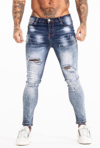Light Blue Ripped Slim Fit Jeans
