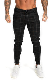 Black Plaid Stretch Chinos