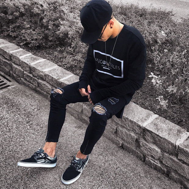 Black Stretch Skinny Fit Ripped Jeans for Men