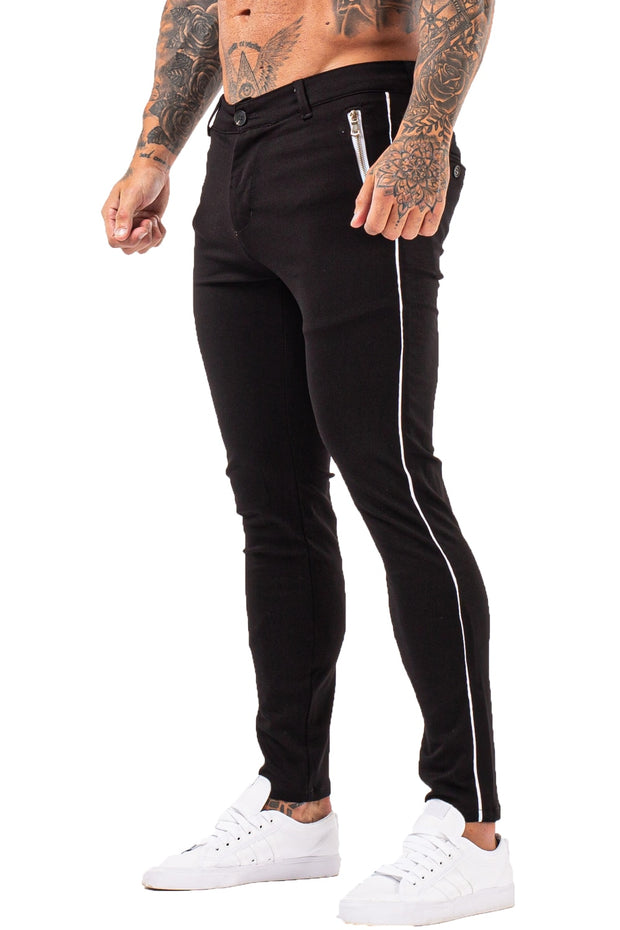 Black Chino Pants With Side Line
