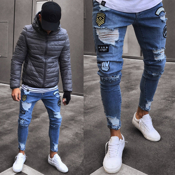 SUPER SKINNY ULTRA RIPPED-REPAIRED JEANS FOR MEN