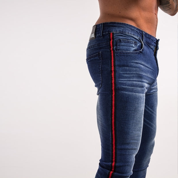 Men's Super Skinny Stretchable Jeans With Red Stripe Panel - Dark Blue
