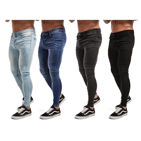 MEN'S MOST FASHIONABLE CASUAL SLIM FIT STRETCHABLE JEANS - ICE BLUE / DARK BLUE / FADED BLACK / BLACK