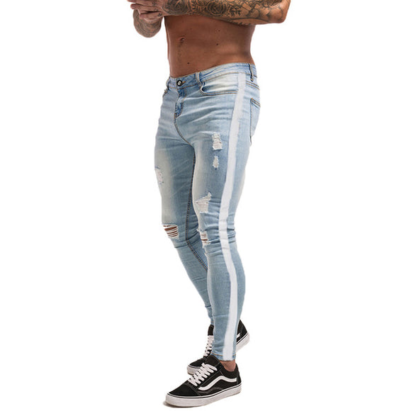 LIGHT BLUE SLIM FIT STRETCHABLE RIPPED JEANS WITH WHITE STRIPS