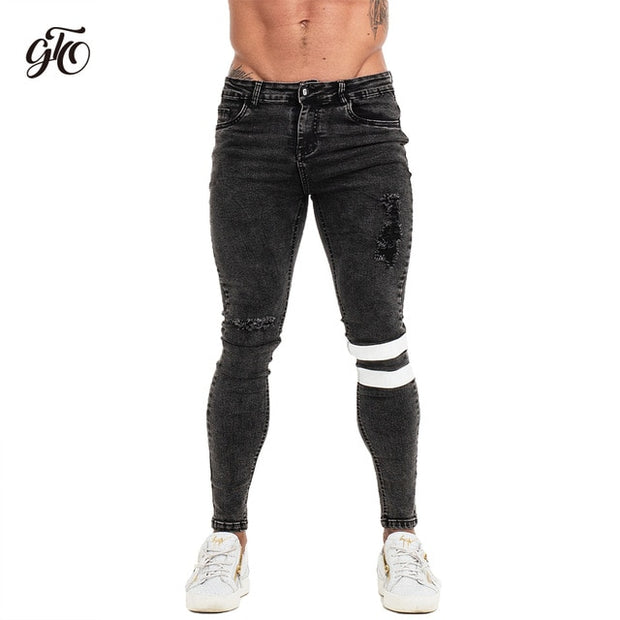 Distressed Skinny Slim Fit Jeans for Men - Black