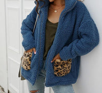 Leopard patchwork casual Teddy Coat