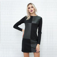 Patchwork vintage leather party dress