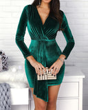 Green velvet ruched dress
