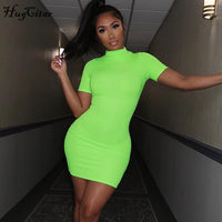 Neon green and orange short dress