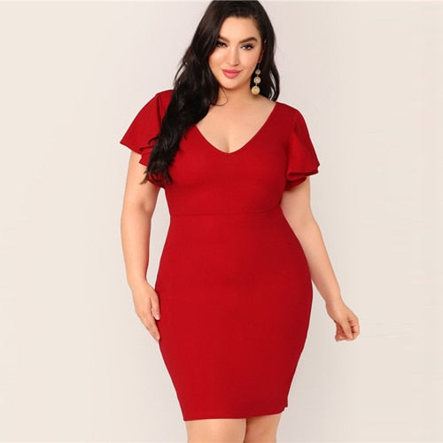 Red elegant plus size dress