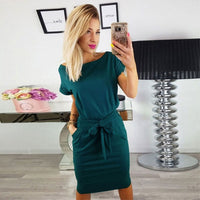Solid O-neck dress