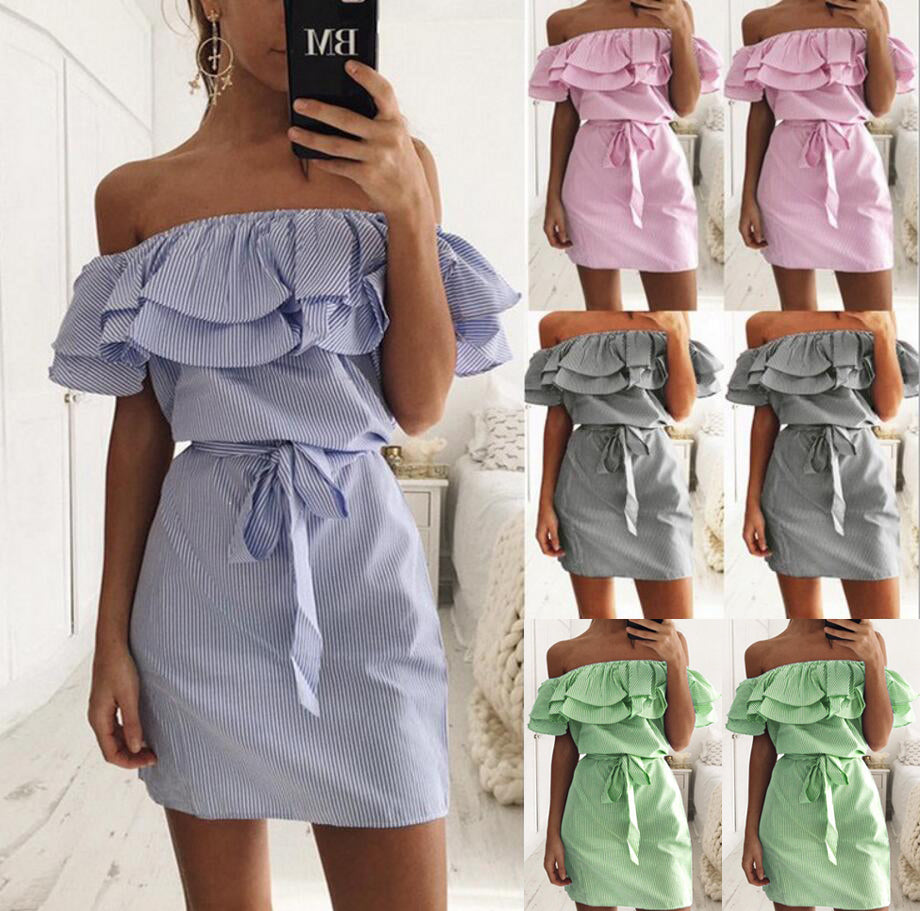 Madly In Love Off Shoulder Ruffles Dress