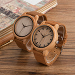 Wood Bamboo Wristwatches with Leather Strap