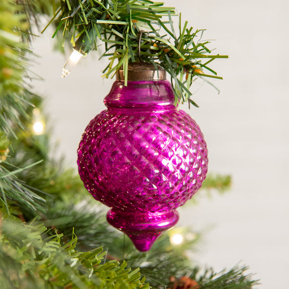Pink Lamp Shaped Glass Ornament - Box of 4