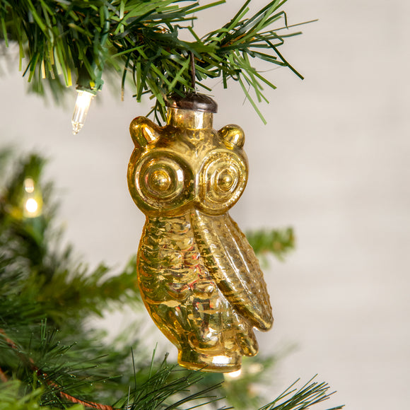 Gold Owl Glass Ornament - Box of 4