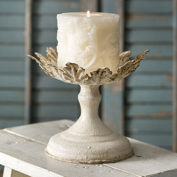 Gold Leaf Pillar Candle HolderOld Time ShoppePillar Holder