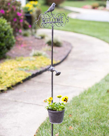 Welcome Garden Stake with Planter