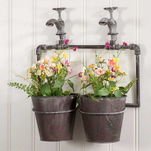 Two-Pot Wall Planter with SpigotsOld Time Shoppe