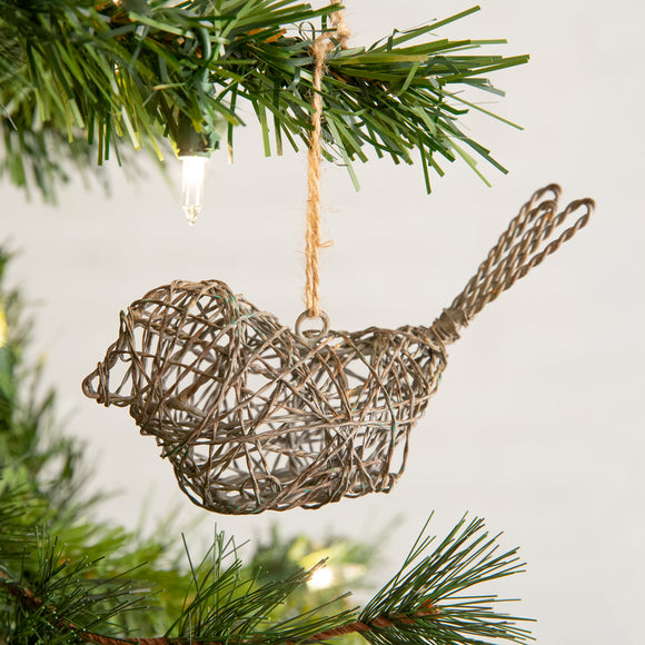Twisted Wire Sitting Bird Ornament - 4pcs. per box