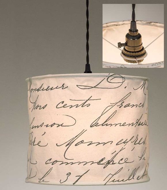 Vintage Handwriting Canvas Pendant LampOld Time Shoppe