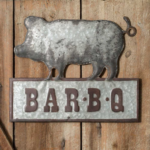 Bar-B-Q Metal Wall Sign LargeOld Time Shoppe