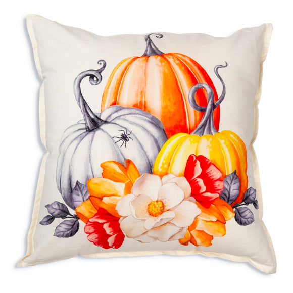 Pumpkins and Flowers Cotton Throw PillowOld Time Shoppe