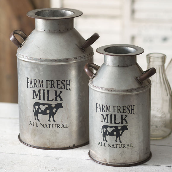 "Set of Two ""Farm Fresh Milk"" CansOld Time Shoppe"