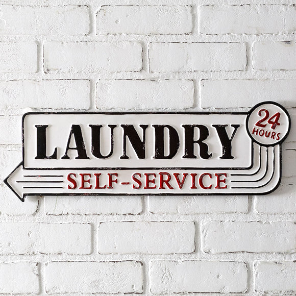 Laundry Self Service Metal Sign
