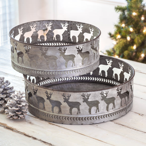Set of Two Reindeer Round Bins