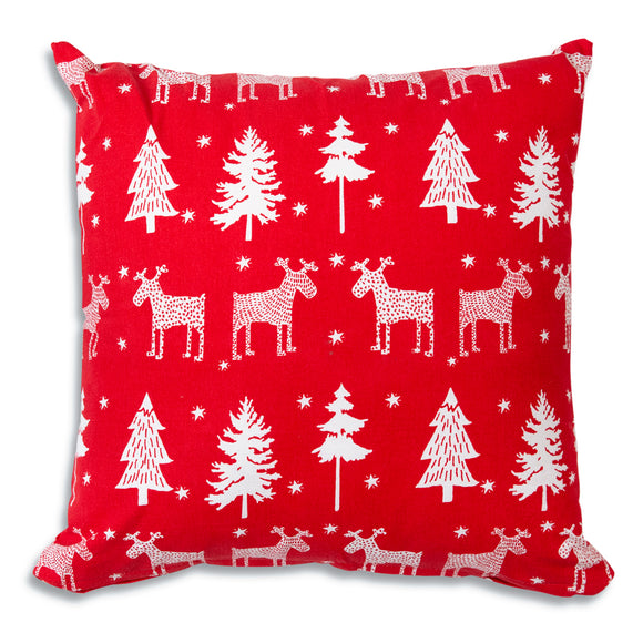 Reindeer and Trees Cotton Throw PillowOld Time Shoppe